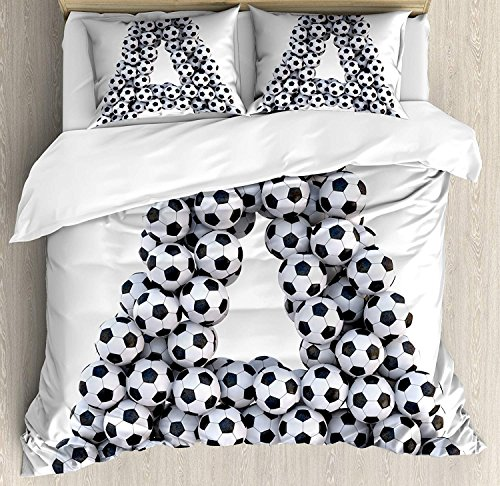 Beauty Decor Letter A Duvet Cover Set Realistic Soccer Balls in form of Capital A Sports Play League Competition Theme Microfiber Bedding Sets with Zipper and Corner Ties Black White (4 Pcs, Full) by Beauty Decor