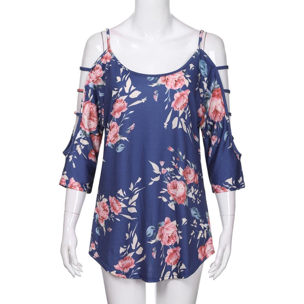UONQD Woman blouses womens shirts m and s ladies floral long sleeve grey tops blue short evening chiffon shirt online light collar uk navy casual women's female(Medium,Blue) by UONQD (Image #4)