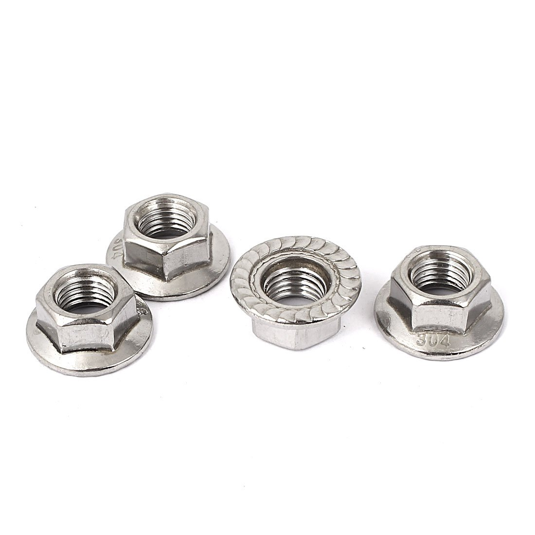 uxcell M10x1.25mm Thread UNF Serrated Hex Flange Lock Nuts 4pcs