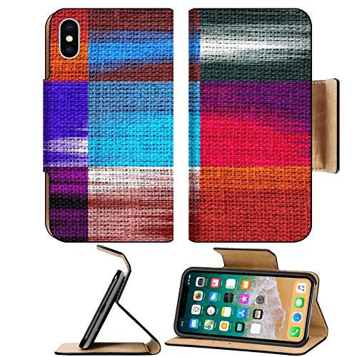 MSD Premium Apple iPhone X Flip Pu Leather Wallet Case Brush Strokes Painted Burlap Linen Rustic Jute Background IMAGE (Brushstrokes China)