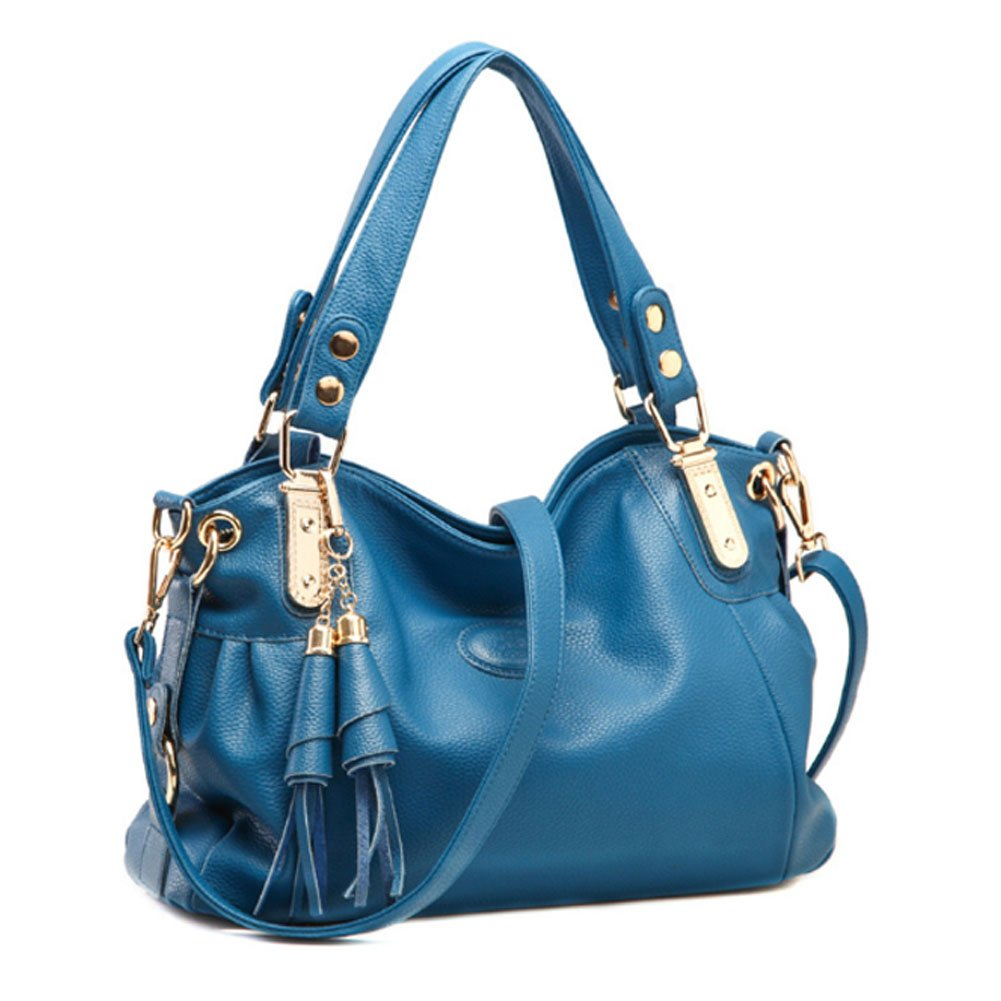 Voudi Genuine Leather Handbags for Women Top Handle Bag Hobo Handbag Tote Shoulder Bag Designer Purse Ladies Cross Body Bag (Blue)