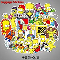 Yoogeer 50pcs Vinyl Simpsons Stickers Bomb Decal Vinyl for Car Skateboard Laptop Luggage