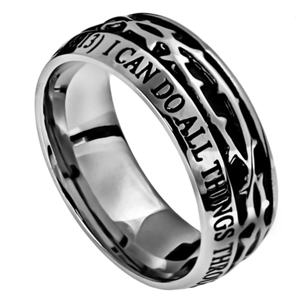 North Arrow Shop Philippians 4:13 Crown of Thorns Ring, Stainless Steel, Christian Bible Verse