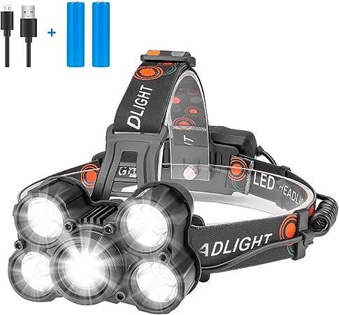 Eletorot Lampe Frontale Lampe Phare LED Rechargeable Puissante Super lumineux 4 Modes pour course camping randonn/ée Chasse p/êche Etanche Lampe Torche LED