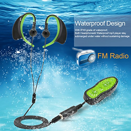 4GB Swimming MP3 Player with FM Raido Waterproof IPX8 Protable Sport Music Player with Headphones Sports Pedometer FM Radio Clip Design for Swimming Running Diving -Green