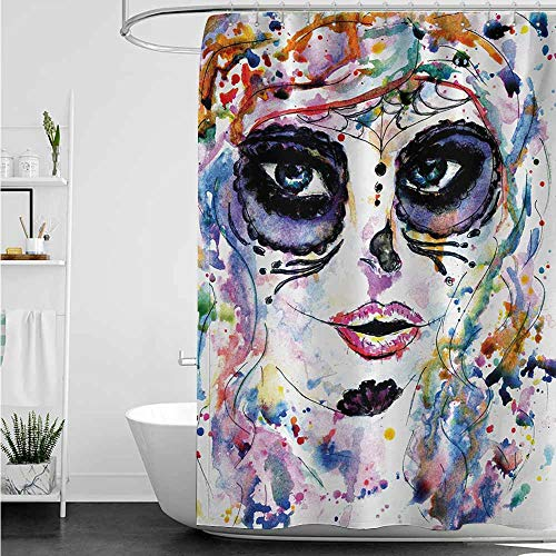 home1love Shower stall Curtains,Sugar Skull Halloween Girl with Sugar Skull Makeup Watercolor Painting Style Creepy Look,Art Print Polyester,W72x84L,Multicolor -