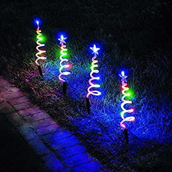 Multi Coloured LED Spiral Pathfinder Christmas Lights 4 Pack Looks ...