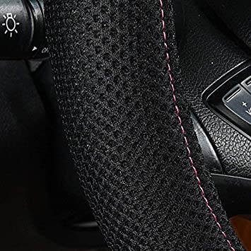LJ Rose Red CAR PASS New ARRVIAL Delray Lace and Spacer Mesh Steering Wheel Covers Universal for Vehicles,SUV