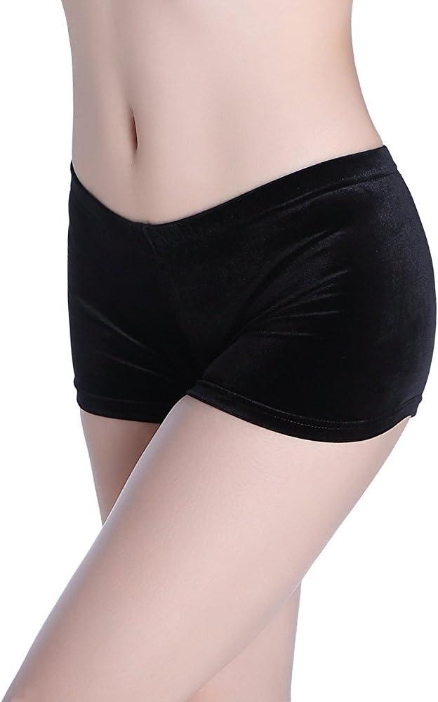 CrystalsRus Varsany Stella Ginnasta Diamante del Merletto Shorts Danza Body Black Stretch Velvet Ballet