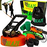 Strongest Quality Slackline with Training Line + Tree Protectors | Complete Slackline Kit Ideal for Family Outdoor Healthy Fun | Easy Setup 50 ft Slack Lines