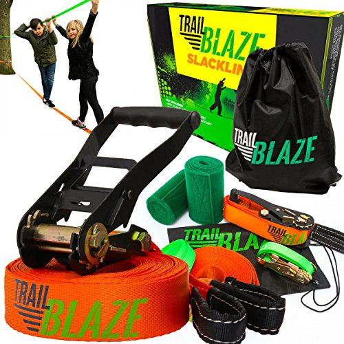 Strongest Quality Slackline with Training Line + Tree Protectors | Complete Slackline Kit Ideal for Family Outdoor Healthy Fun | Easy Setup 50 ft Slack Lines by Trailblaze