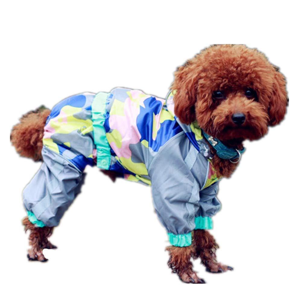 14 Pet Dog Raincoat with Hood and Harness Hole Waterproof Safety Coat Jacket for Small Medium Large Dog, (Length20-75cm)