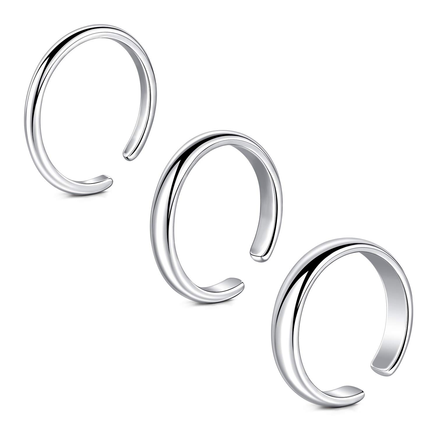 Longita Adjustable Toe Rings Silver for Women Simple Open Band Fingers Joint Knuckle Tail Ring Hypoallergenic Sandals Foot Jewelry