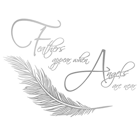 Feathers Appear When Angels Are Near Wall Sticker Amazon Co Uk