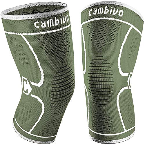 CAMBIVO 2 Pack Knee Brace, Knee Compression Sleeve Support for Men and Women, Running, Workout, Gym, Hiking, Sports