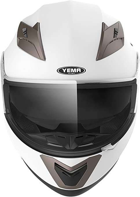 Nero opaco XL YEMA Casco Integrale Moto Scooter ECE Omologato YM-829 Motorino Caschi Integrali Donna Uomo con Doppia Visiera Parasole
