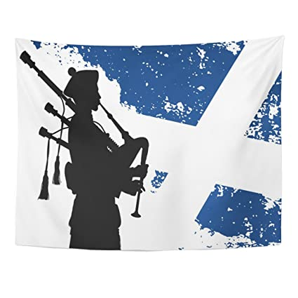 fb0ff5179ee9 Emvency Tapestry Black Bagpipe Silhouette of Bagpiper with Scottish Flag on  The Blue Scotland Man Home