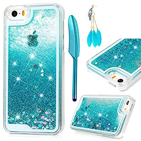iPhone SE Case, iPhone 5 5S Case - MOLLYCOOCLE Transparent Clear PC Hard Plastic Shell 3D Bling Sparkle Glitter Quicksand and Cute Star Flowing Liquid Cover for iPhone SE/5/5S - (Amazon Iphone 5s At&t Unlocked)