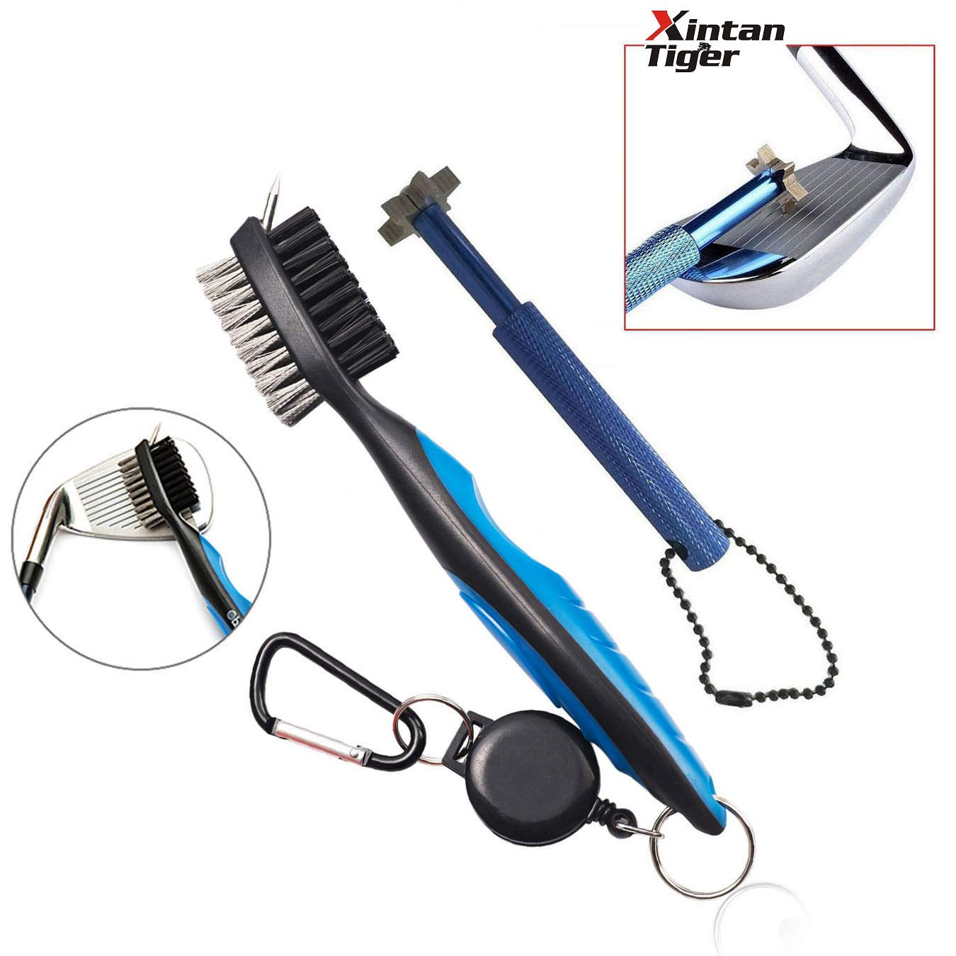 XinTan Tiger Golf Tool Set -Retractable Golf Club Brush and 6 Heads Golf Club Groove Sharpener.Perfect Gift for Golfers-Practical Sharp and Clean Kits for All Golf Irons (Brush Groove Sharpener) by XinTan Tiger