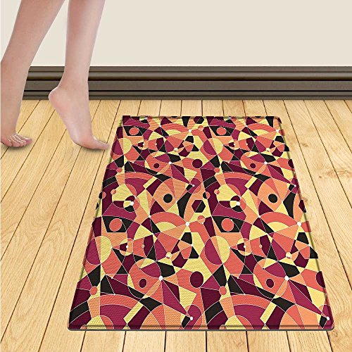 homefeel Checkered Door Mats Area Rug Crosswise Stripes with Little Red Squares Retro Abstract Pattern Floor mat Bath Mat for tub 16