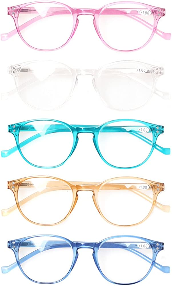 5 Pairs fashion Great Value Quality Readers Spring Hinge Colorful Reading Glasses