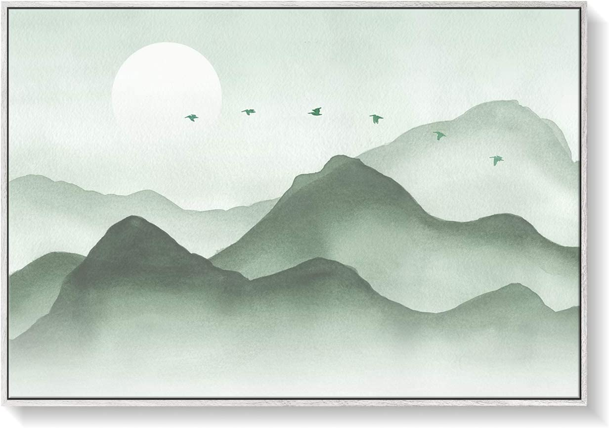 Sage Green Zen Abstract Large Living Room Bedroom Office Watercolor Wall Art Home Dècor 36x24 Hi-Res Canvas Print in White Woodgrain Frame Ready to Hang
