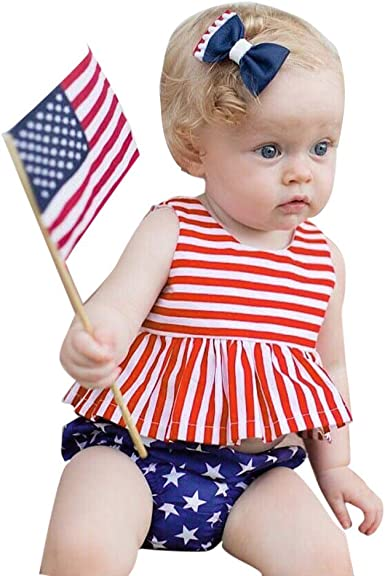Headbands Specialcal 4th of July Baby Girls American Flag Off Shoulder T Shirt Top+Bowknot Shorts Pants