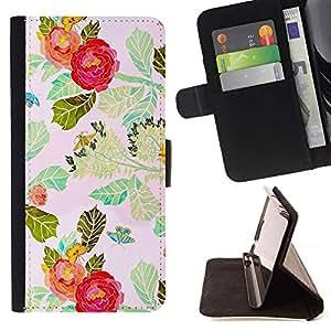 For Sony Xperia Z1 Compact / Z1 Mini (Not Z1) D5503 Case , Flor roja de la acuarela Hojas- la tarjeta de Crédito Slots PU Funda de cuero Monedero caso cubierta de piel