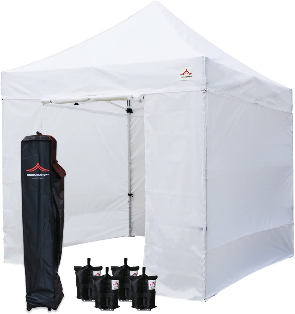 UNIQUECANOPY 8'x8' Ez Pop Up Canopy Tent Commercial Instant Shelter, with 4 Removable Zippered Side Walls and Heavy Duty Roller Bag, 4 Sand Bags White
