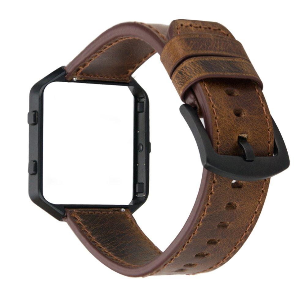 MroTech Fitbit Blaze Correa con Marco, Correa de Reloj de Cuero Genuino Vintage Pulseras de Repuesto Compatible Fitbit Blaze Smartwatch (Banda Marron ...