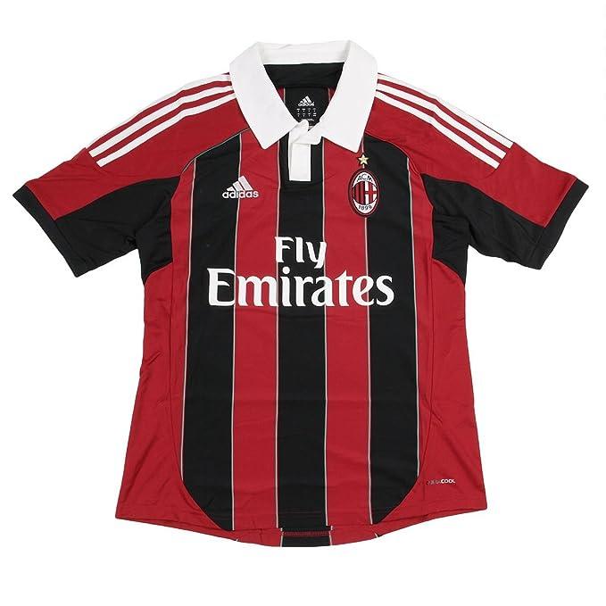 Camiseta de fútbol de color rojo y negro AC Milan Adidas, color ...