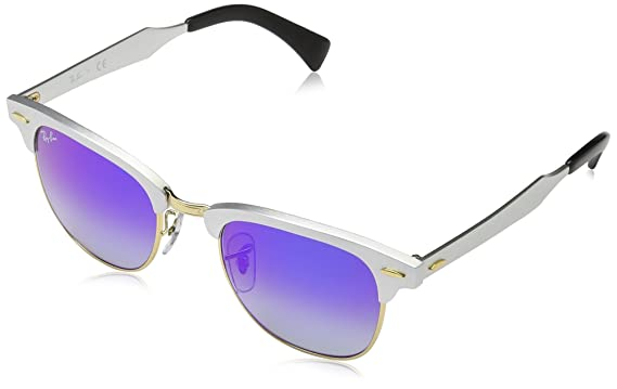ray ban clubmaster blue frame  Amazon.com: Ray-Ban CLUBMASTER ALUMINUM - BRUSHED SILVER Frame ...