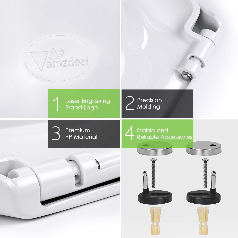 Amzdeal Abattant WC Lunette de Toilette en PP avec Frein de Chute R/éduction du Bruit Fermeture en Douceur dans la Salle de Bain et Toilettes Forme O