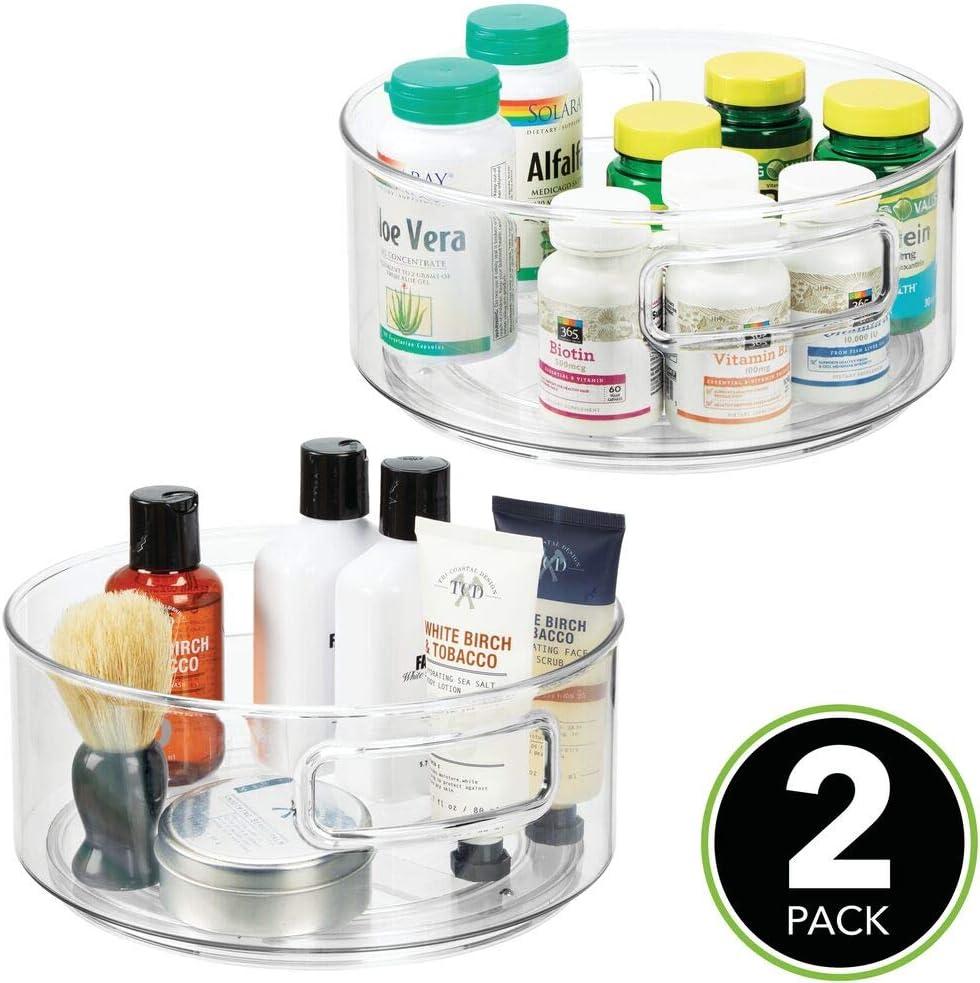 bo/îte /à pharmacie rotative plateau tournant pour m/édicaments lot de 2 transparent mDesign plateau de rangement lazy susan