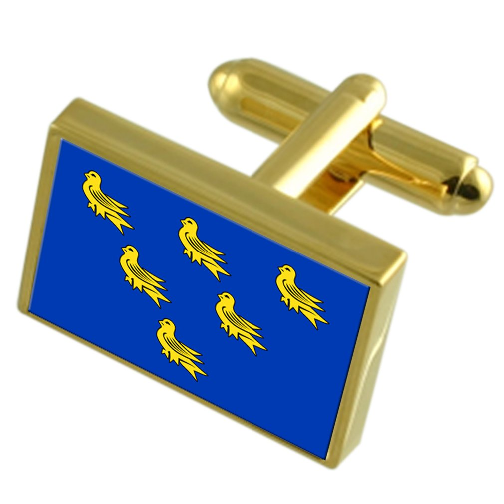 Sussex County England Gold-tone Flag Cufflinks Engraved Box