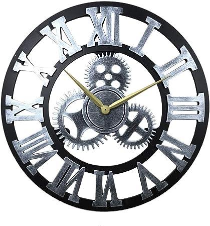 H-Clocks Nuevo Reloj de Pared Grande, Reloj de Engranajes Vintage Estilo Americano Salón 3D Reloj de Pared Diseño Moderno Decoración para el hogar Jardín Exterior Pared Relojes de Madera,A,58cm: Amazon.es: Hogar