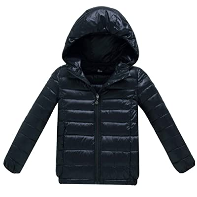Iikids Unisex Warm Cotton Coat Light Weight Puffer Snowsuit Hooded Winter Outwear