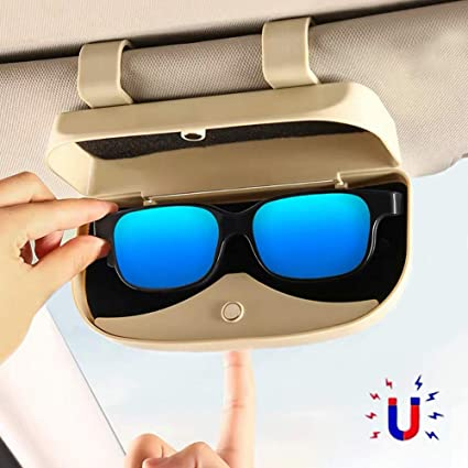 ZEEUPAI - Caja Universal con Dos Presilla para Guardar Gafas de Sol de Coche Organizador Almacenamiento de Gafas de Sol para Coche Instalación no destructiva (Beige): Amazon.es: Coche y moto