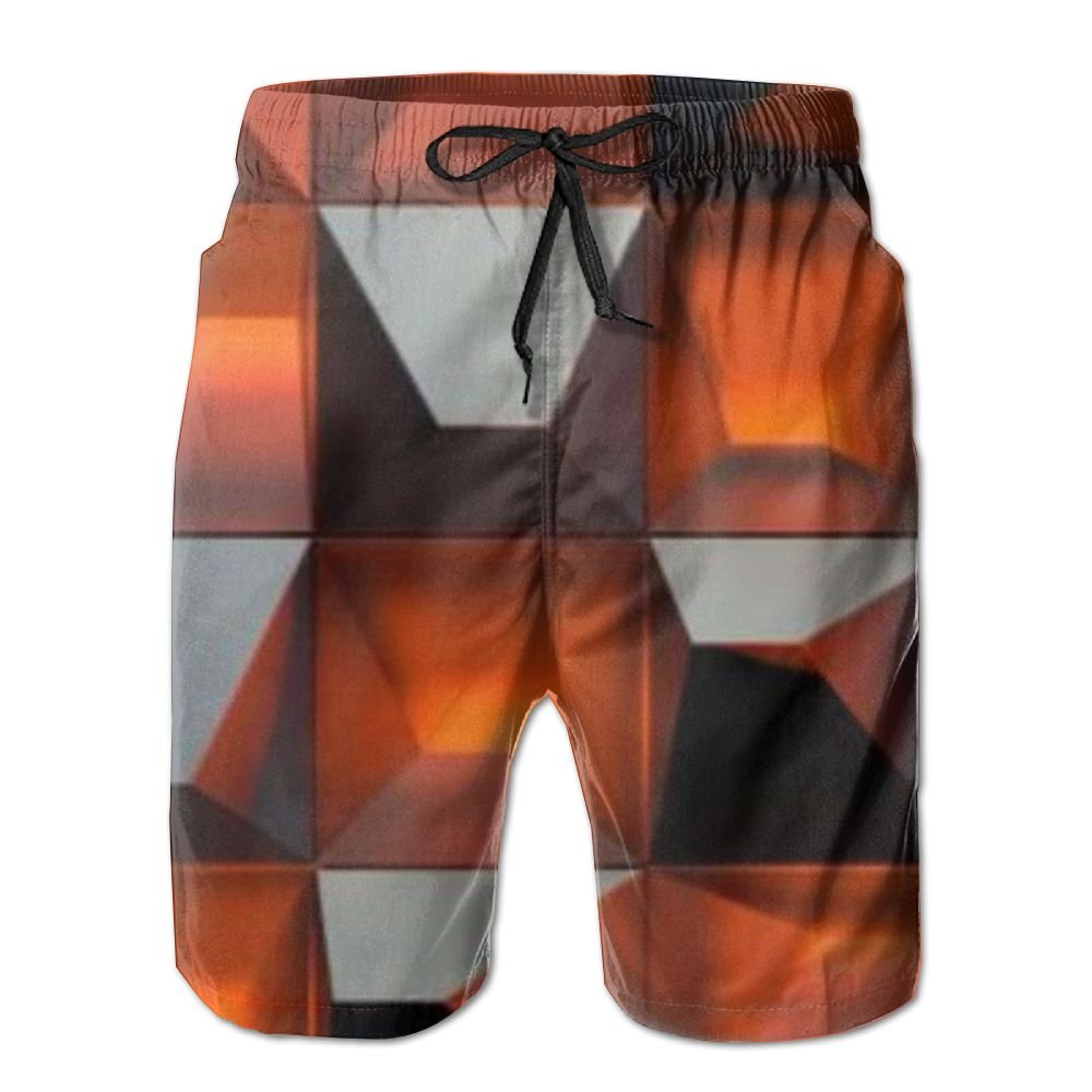 Multi-Element Square Printing Mens Beach Board Shorts Quick Dry Summer Casual Swimming Soft Fabric with Pocket