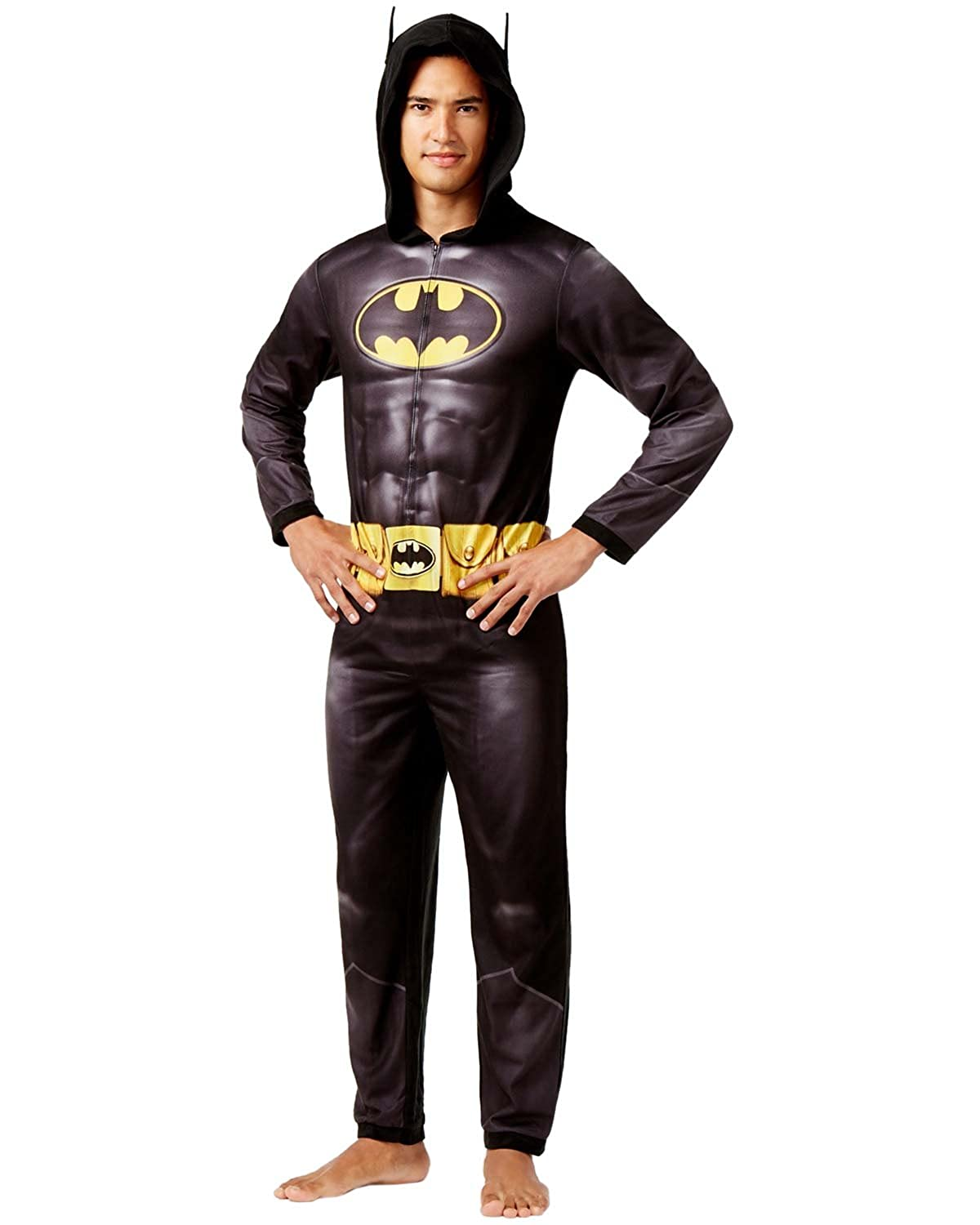 b0b691ce8d3 Amazon.com  Briefly Stated Men s Batman Dark Knight Hooded Jumpsuit Pajamas   Clothing