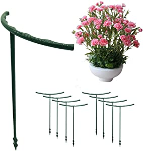 Round Plant Support,Green Plastic Garden Plant Flower Support,Pack of 8(6''Width,10''Height)