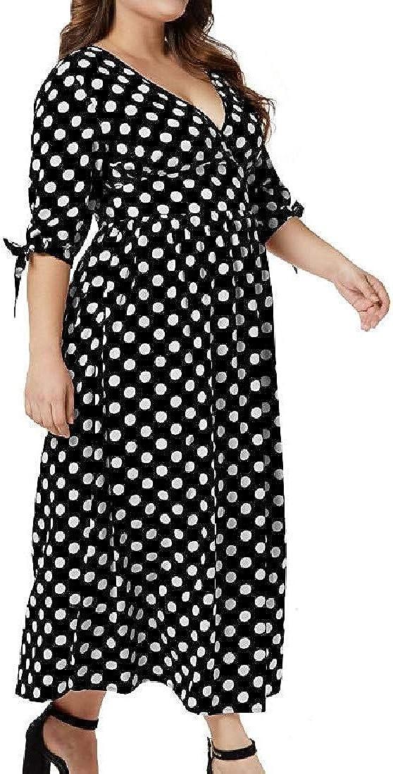 Hadudu Women Big Hem Long-Sleeve Polka Dot Plus-Size Maxi Dress