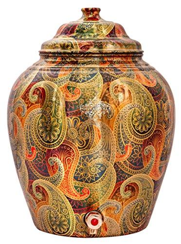 - IndianArtVilla Printed Paisley design Copper Water Dispenser Pot Matka, Stoarage, Home Garden, 439 OZ