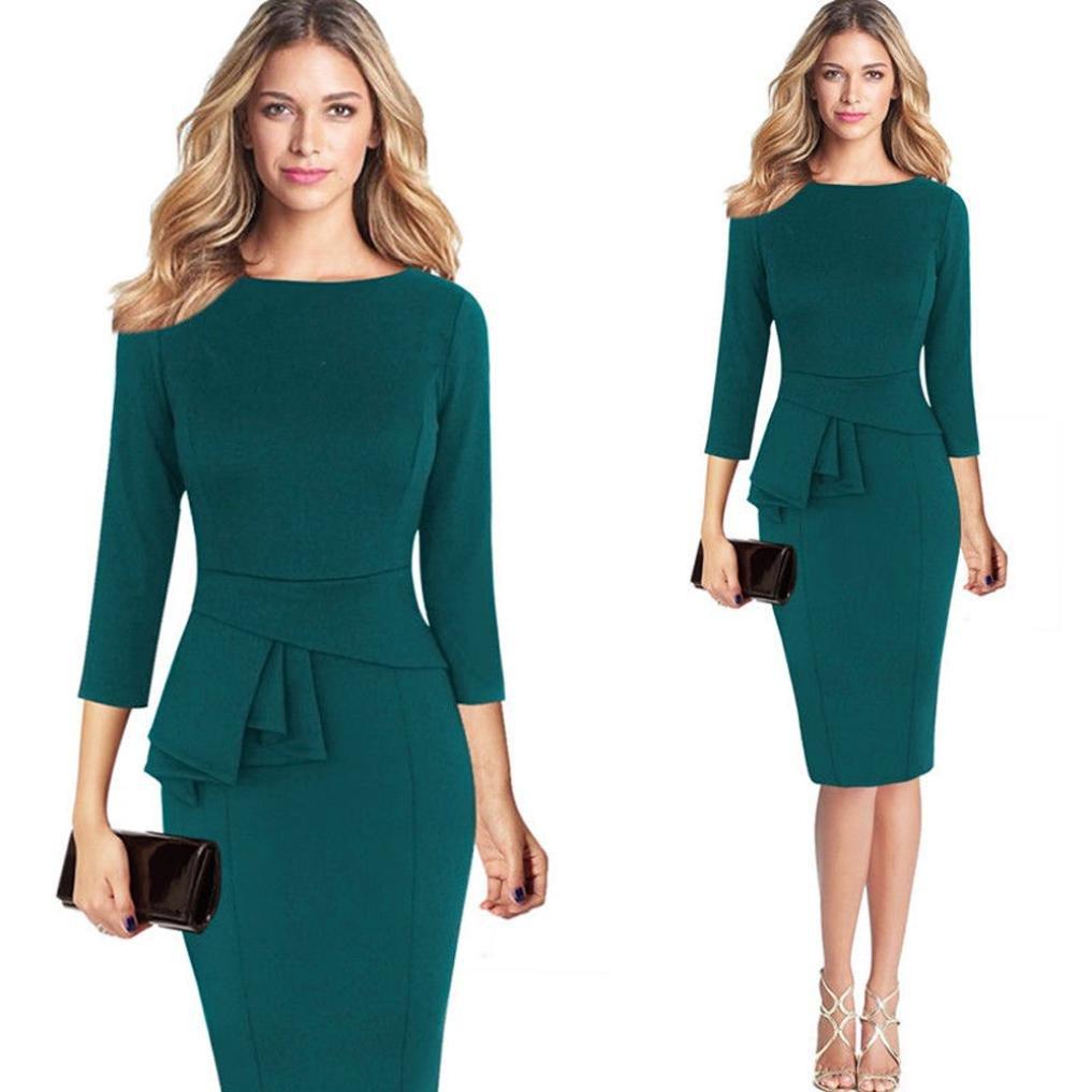 Snowfoller Women Elegant Office Dress, Fashion Ladies 3/4 Gown Sleeve O-Neck Work Business Party Sheath Pencil Dress (XL, Green)