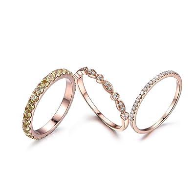 Amazon Com 3pcs Natural Round Vs Green Peridot Bridal Ring Set 2
