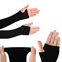 Rrc WV001RCA0096 Fingerless Arm Sleeve with Thumb Hole (Set of 2, Black)