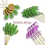 60 PC Flamingo Pineapple cactus coconut Cupcakes Toppers, Cocktail Picks Tropical Cake Decoration Hawaiian Luau Party Supplies for Birthday Wedding Beach Party