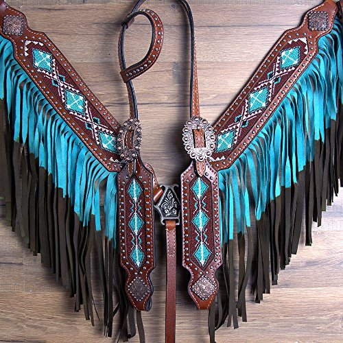 COMFYTACK WESTERN LEATHER HORSE HEADSTALL BREAST COLLAR TURQUOISE BEADED FRINGES