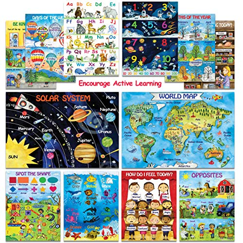 12 Creative Educational Posters for Kids & Toddlers -13x18 | Preschool Posters for Classroom Daycare Kindergarten & Homeschool Learning | ABC/Alphabet Poster, Number Chart, Colors, Map Poster & More