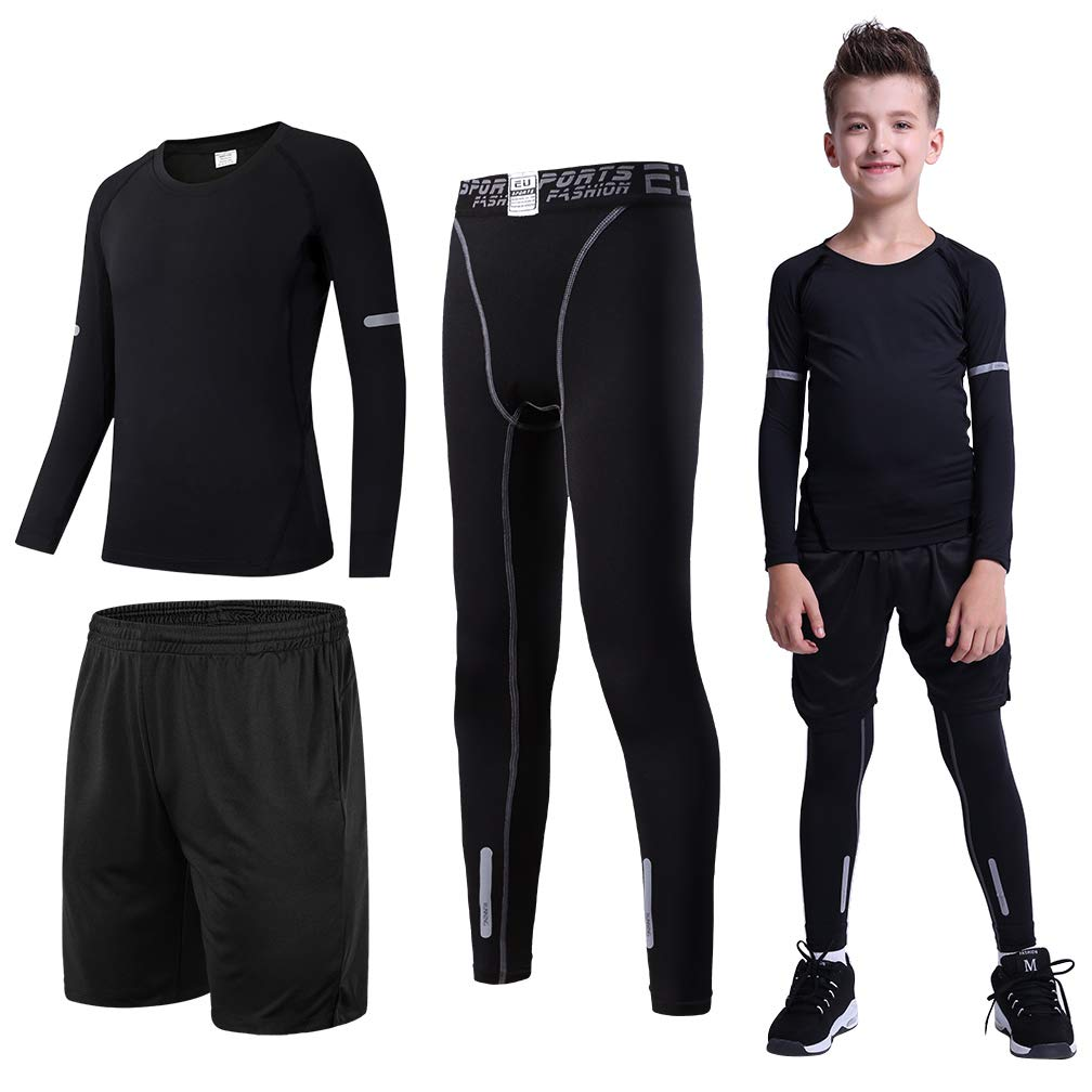 Tesuwel 2/3/4 Pcs Boys Girls Base Layer Athletic Compression Leggings and Shirts Thermal Underwear Set Running Pants Tights by Tesuwel